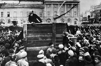 Mandatory Credit: Photo by Universal History Archive/Universal Images Group/REX (2544011a) Lenin in Red Square. Vladimir Ilyich Lenin ( 1870 - 1924). Russian revolutionary and communist politician who led the October Revolution of 1917. Also headed the Soviet state during 1917-1924. History